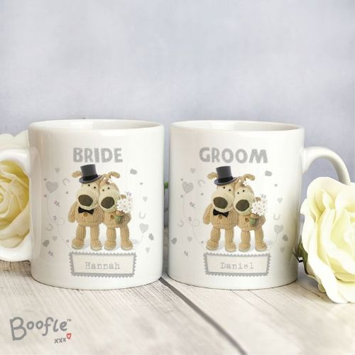 Personalised Boofle Bride & Groom Mug Set